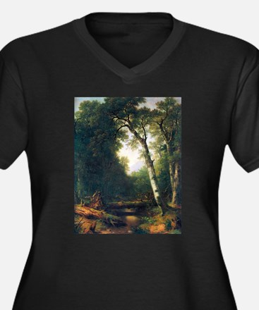 A creek in the woods Women's Plus Size V-Neck Dark