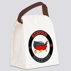 German American Flags Map Canvas Lunch Bag