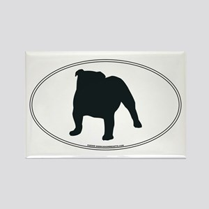 Bulldog Silhouette Rectangle Magnet