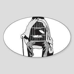 Bird Cage Man Sticker (Oval)