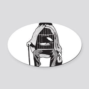 Bird Cage Man Oval Car Magnet