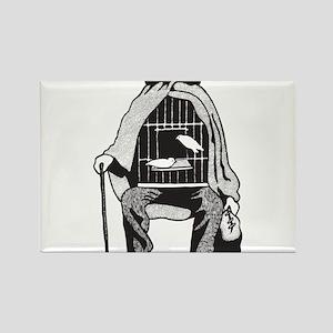 Bird Cage Man Rectangle Magnet