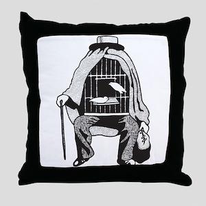 Bird Cage Man Throw Pillow