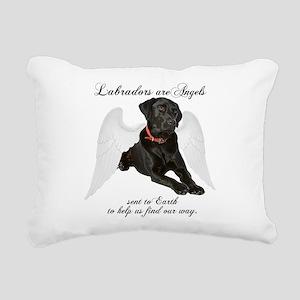 Black Lab Angel Rectangular Canvas Pillow