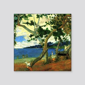 "Paul Gauguin Beach Scene Square Sticker 3"" x 3"""