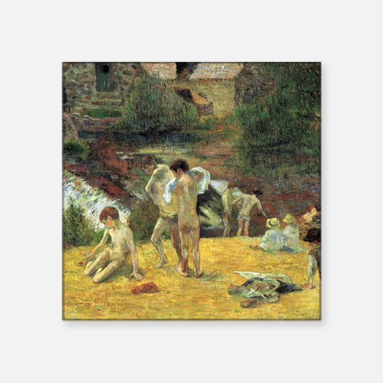 "Gauguin Bathing In The Mill. Square Sticker 3"" x 3"