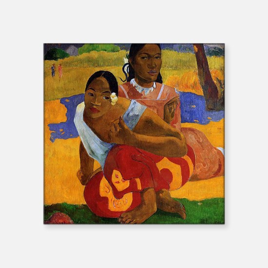 "Paul Gauguin Getting Married Square Sticker 3"" x 3"