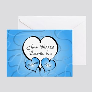 Blue 2 Hearts Married 2012 Greeting Card