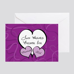 Purple 2 Hearts Married 2012 Greeting Card