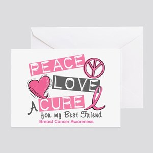 Peace Love A Cure For Breast Cancer Greeting Card