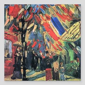 "Van Gogh 14 July In Paris Square Car Magnet 3"" x 3"
