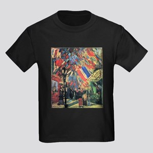 Van Gogh 14 July In Paris Kids Dark T-Shirt