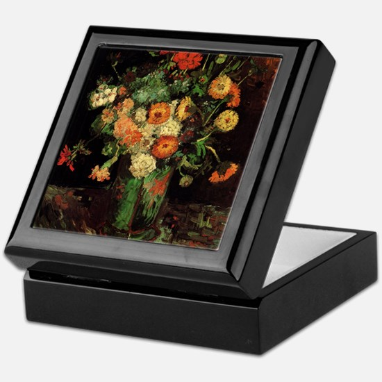 Vase with Zinnias and Geraniums Keepsake Box