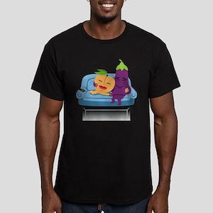 Emoji Peach Eggplant C Men's Fitted T-Shirt (dark)