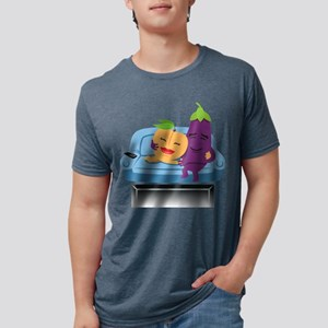 Emoji Peach Eggplant Cuddle Mens Tri-blend T-Shirt