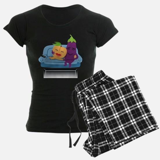 Emoji Peach Eggplant Cuddle Pajamas
