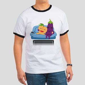 Emoji Peach Eggplant Cuddle Ringer T