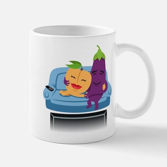 Emoji Peach Eggplant Cuddle Mug