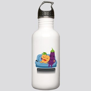 Emoji Peach Eggplant C Stainless Water Bottle 1.0L