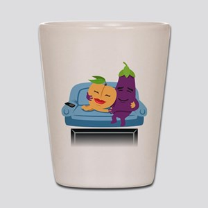 Emoji Peach Eggplant Cuddle Shot Glass