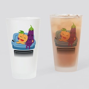 Emoji Peach Eggplant Cuddle Drinking Glass