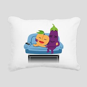 Emoji Peach Eggplant Cud Rectangular Canvas Pillow