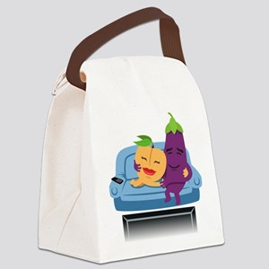 Emoji Peach Eggplant Cuddle Canvas Lunch Bag