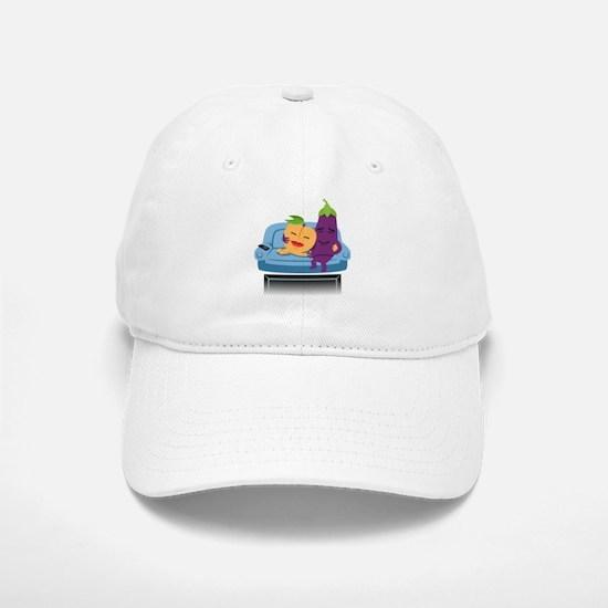 Emoji Peach Eggplant Cuddle Baseball Baseball Cap