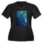 Cosmos Women's Plus Size V-Neck Dark T-Shirt