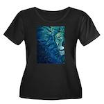 Cosmos Women's Plus Size Scoop Neck Dark T-Shirt
