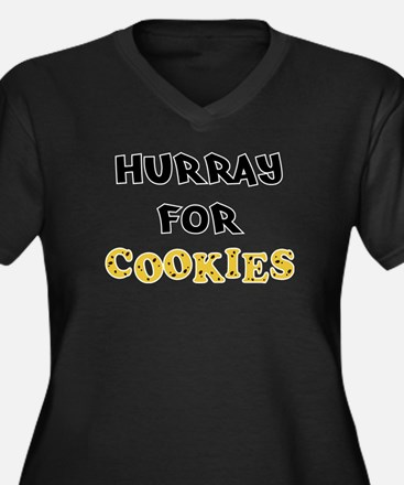 Hurray for Cookies Women's Plus Size V-Neck Dark T