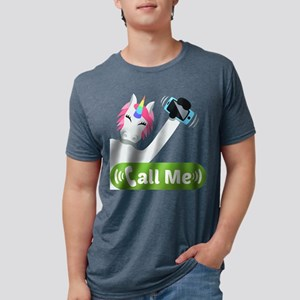 Emoji Unicorn Call Me Mens Tri-blend T-Shirt