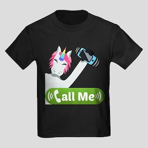 Emoji Unicorn Call Me Kids Dark T-Shirt