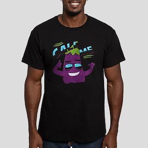 Emoji Eggplant Call Me Men's Fitted T-Shirt (dark)