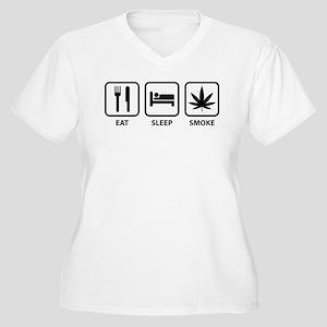 Eat Sleep Smoke Women's Plus Size V-Neck T-Shirt