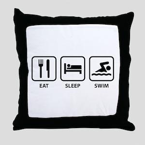 Eat Sleep Swim Throw Pillow