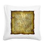 Celtic Letter N Square Canvas Pillow