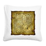 Celtic Letter P Square Canvas Pillow