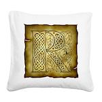 Celtic Letter R Square Canvas Pillow