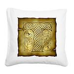Celtic Letter T Square Canvas Pillow