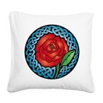 Celtic Rose Stained Glass Square Canvas Pillow