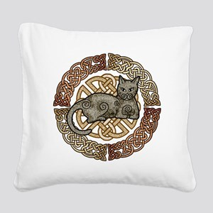 Celtic Cat Square Canvas Pillow