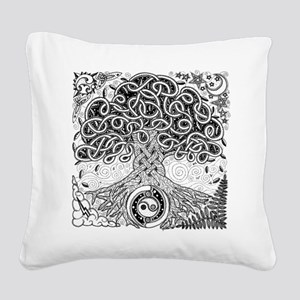 Celtic Tree of Life Ink Square Canvas Pillow