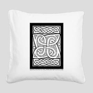 Celtic Knotwork Cloverleaf Square Canvas Pillow