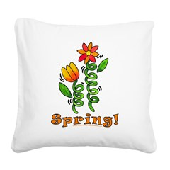 Spring Flowers Square Canvas Pillow