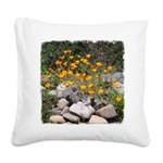 California Poppies Square Canvas Pillow