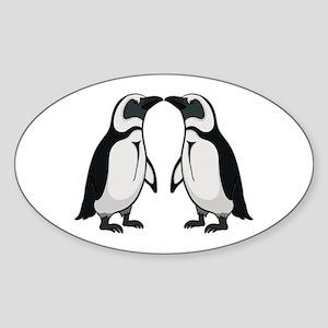 Penguin Kiss Sticker (Oval)