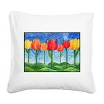 Tulip Trees Watercolor Square Canvas Pillow