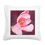 Pink Tulip Watercolor Square Canvas Pillow