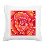 Red-Orange Rose Square Canvas Pillow